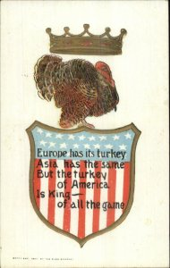 Thanksgiving Patriotic - Turkey American Flag Shield Crown c1910 Postcard
