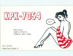 risque SEXY GIRL - QSL HAM RADIO CARD Muncie Indiana IN t0779