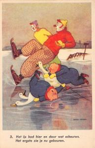 Fantasy Clown Serie~Skating No 6~Piglet Goose Fall~Ice Cracks~Art Deco~B Leemker