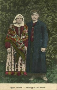 poland, Typy Polskie, Man and Woman in Traditional Costumes (1916) Postcard