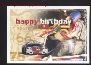 HAPPY BIRTHDAY ROUTE 66 RACE CAR POSTCARD