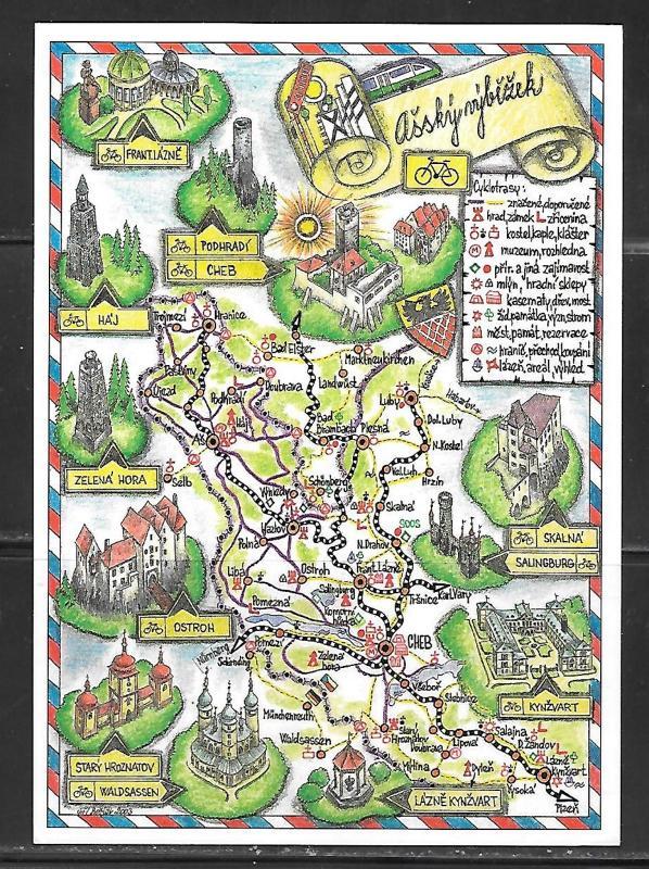 Czech Republic, map, western portion, unused.