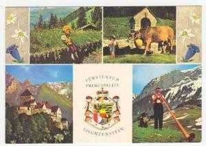 Vaduz, Liechtenstein, 60-70s 4-view postcard