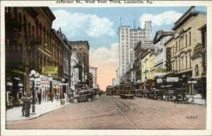 Louisville KY Jefferson St. c1920 Postcard