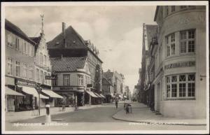 denmark, SONDERBORG, Perlegade, Bank, Bookstore (1948) RPPC
