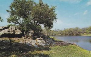 Quiet Scene, L.B.J Hill County, Rugged rocks and Skyblue Waters, Southwest Te...
