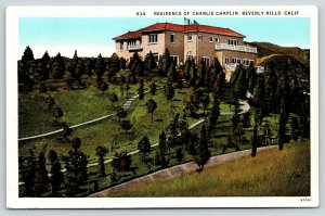 Beverly Hills California~Actor Charlie Chaplin Mansion on Hill~Movie Star~1920s
