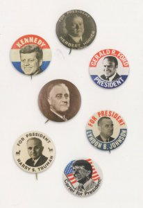 Vote Gerald Ford JFK Kennedy Harry Truman For President Badge Pin Postcard