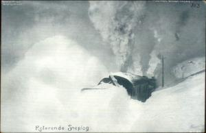 Norway Norge - RR Train Snowplow Snow Plow Roterende Sneplog Postcard