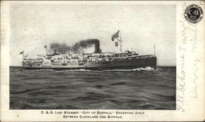 C&B Line Steamer Ship City of Buffalo w/ Company Logo 1909 Used Postcard