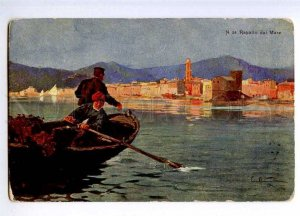 189750 Italy RAPALLO dal Mare FISHING Boat Vintage postcard