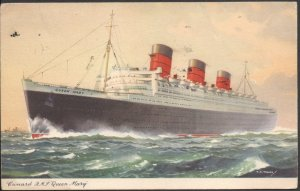 R.M.S. Queen Mary - Post Card - Mailed on Board