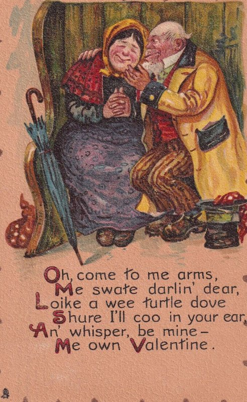 VALENTINE'S DAY, PU-1907; Old man showing affection to his turtle dove, Poem;...