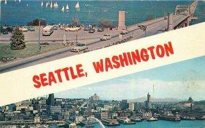 Seattle Washington bus Skyscrapers Smith Colorpicture Postcard 21-10362