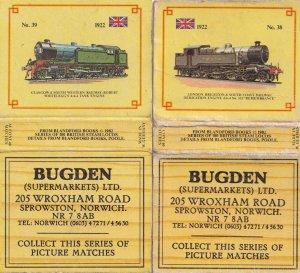 Budgens Sprowston Supermarket Train Norwich Norfolk 2x Old Matchbox Label