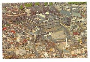 Netherlands Amsterdam Royal Palace Aerial View Dam Square Vtg 1971 Postcard 4X6