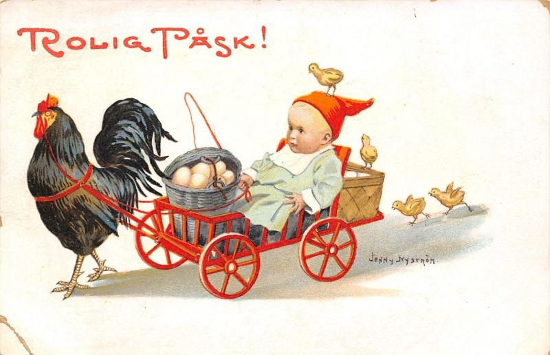 Jenny Nystrom Easter~Rooster Pulls Baby in Red Wagon~Egg Bucket~Chicks~