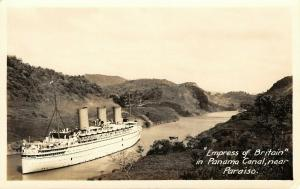 Panama Canal Paraiso~Empress of Britain Steam Ship~Real Photo Postcard~1930 RPPC