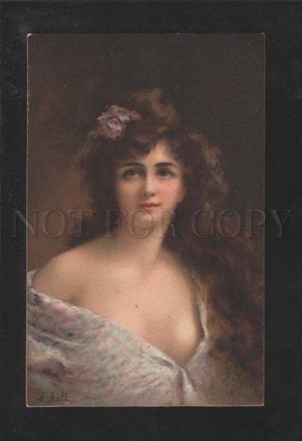 071398 Semi-Nude Lady LONG HAIR by Angelo ASTI vintage colorPC