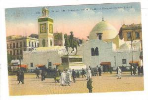 Statue Du Due d'Orleans Et Mosquee Djemaa Djedid, Alger, Algeria, Africa, 190...
