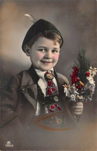 US3006 Little Boy with Flowers tirol bavaria real photo costume folklore