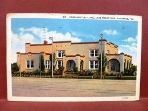 Postcard FL Kissimmee Community Building Lake Front Park