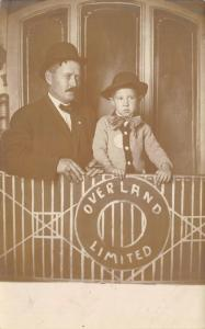 San Francisco to Chicago Overland Limited Train~Father Son on Caboose~c1912 RPPC