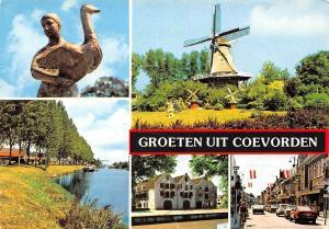 Netherlands Groeten uit Coevorden, statue, goose, windmill