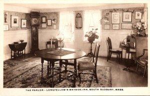 Massachusetts South Sudbury Longfellow's Wayside Inn The Parlor Real Photo