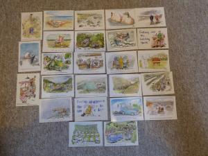 bu0066 25 Cartes postales par bande-dessinée artiste Rupert Besley Toutes montré