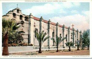 San Gabriel Archangel Mission California Postcard