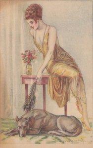 Art Deco ; BOMPARD ; Woman tickles sleeping dog , 1910-20s