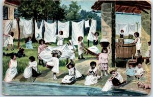 Vintage Greetings Postcard Girls Children Doing Laundry / River 1910 CA Cancel