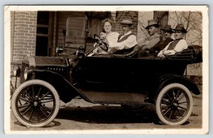 Vintage Car Close Up~Full Crew~Puppy Dog~Driver w/ Cigar~c1910 Automobile RPPC