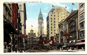 Pennsylvania Philadelphia Trolley On Market Street Looking West