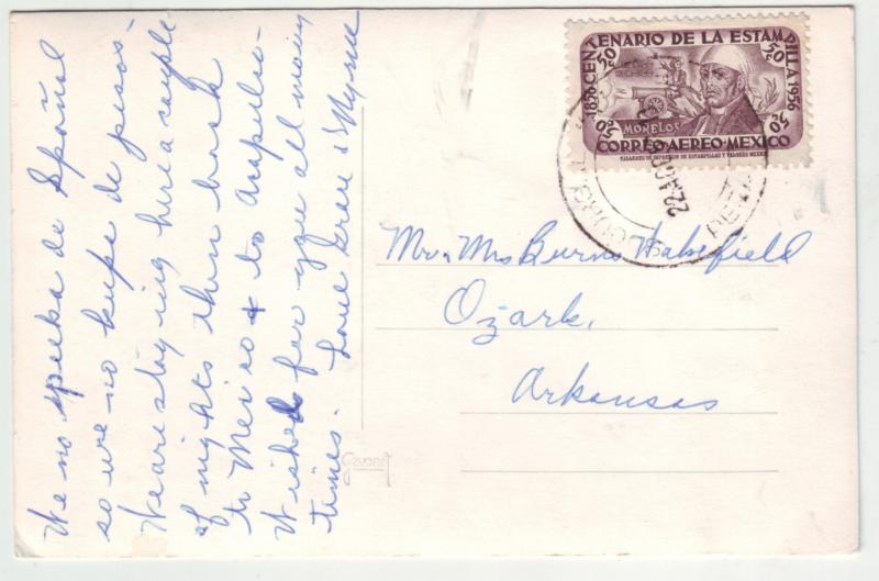 P1170 1956 stamp RPPC old cars hotel penafiel-tehuacan pue mexico, 2 scans