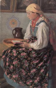 POLAND , 1900-10s; Malarstwo Polskie, A young girl with a book