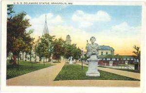 U.S.S. Delaware Statue in Annapolis, Maryland, MD, White Border