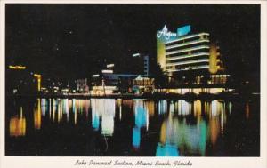 Florida Miami Beach Lake Pancoast Section At Night