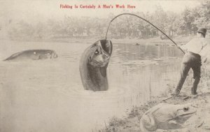Fishing Is Certainly A Man's Work Here, 1912; Exagerrated Fish
