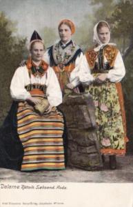 Sweden Dalarne Rattvik Seksand Locals In Traditional Costume