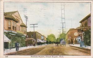 Michigan Grand Rapids Madison Square Street Scene 1911