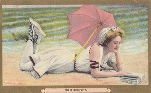 Bathing Beauty Reads a book , 1909