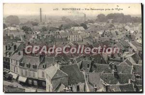 Old Postcard Montereau Panoramic Taken From I'Eglise