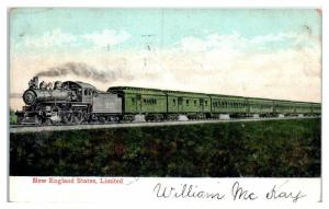 1907 New England States Limited Train Postcard