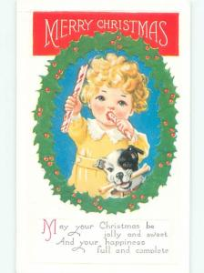 Pre-Linen Christmas DOG WITH BONE BESIDE CHILD WITH CANDY CANE AB5776