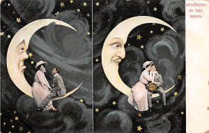 Moon Post Card Spooning in the Moon Man and Woman Pose inside Moon Decoration...