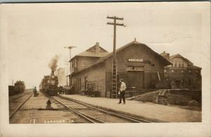 Sanborn Iowa~Railroad Depot~The Train We Start On to Ashton IL~1908 RPPC