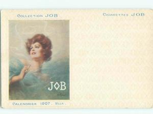 1907 Postcard Ad signed PRETTY GIRL FOR JOB CIGARETTE ADVERTISING AB8104-12