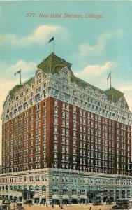 Chicago Illinois~New Beaux Arts Hotel Sherman~c1910 Postcard